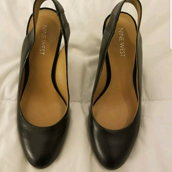 2d78ec1514 Nine West Shoes   Black Leather Slingback Pump Size 55   Poshmark